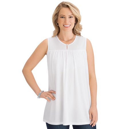 Women's Solid Colored Sleeveless Keyhole Knit Tunic with Built-In Bra - Stylish Seasonal