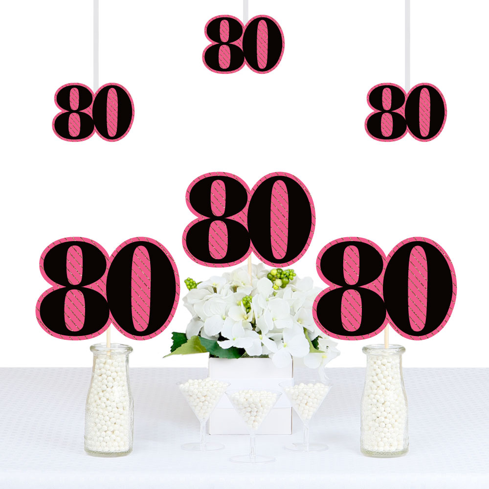 Chic 80th Birthday - Pink, Black and Gold - Decorations DIY Party Essentials - Set of 20