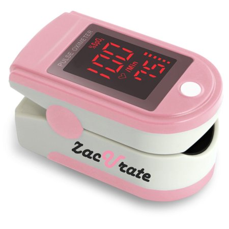 Zacurate Pro Series 500DL Fingertip Pulse Oximeter Blood Oxygen Saturation Monitor with silicon cover, batteries and lanyard (Blushing (Acc U Rate Pro Series Cms 500dl)