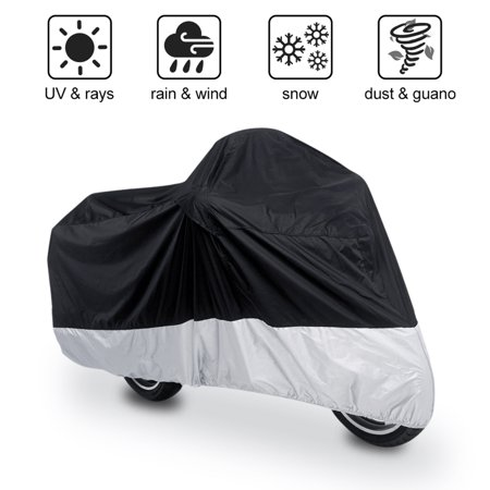 Motorcycle Cover Waterproof For Harley Davidson Outdoor Motorbike All Weather 190T Black+Silver - Harley Davidson Primary Covers