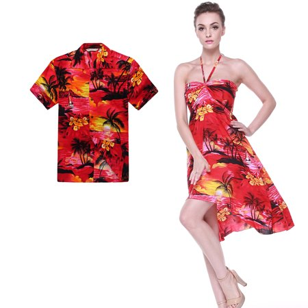 Couple Matching Hawaiian Luau Party Outfit Set Shirt Dress in Sunset Red Men M Women - Hawaiian Outfits For Party
