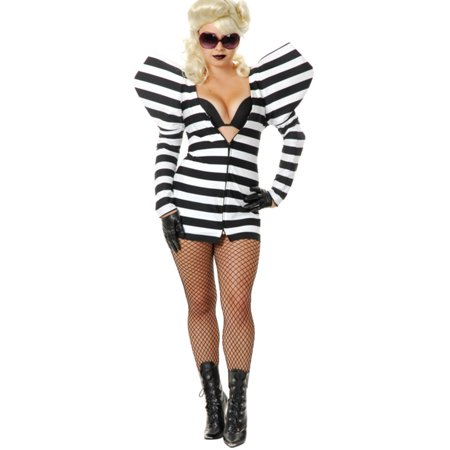 Womens  Black and White Gaga Lady Prison Telephone Costume - Lady Gaga Dance Costumes