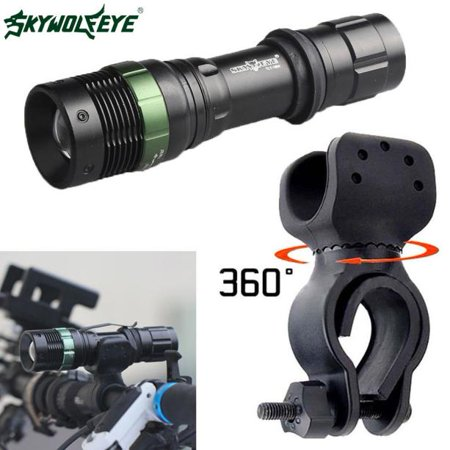 Super Bright XML T6 LED Zoomable Flashlight Bike Bicycle 360°Mount Clip