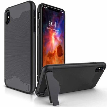 iPhone XS Max Case, iCaber Shockproof Heavy Duty Full Protective Cover Kickstand Dual Layer Wallet Design Case Apple iPhone XS Max