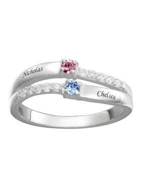 af01980d0b Product Image Personalized Couple's CZ Sterling Silver Name and Birthstone  Ring