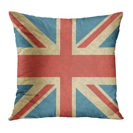 BOSDECO Blue Abstract Dirty UK Vintage of Great Britain Old Scratched English Red Aged Antique British Country Pillowcase Pillow Cover Cushion Case 20x20 inch - image 1 de 1