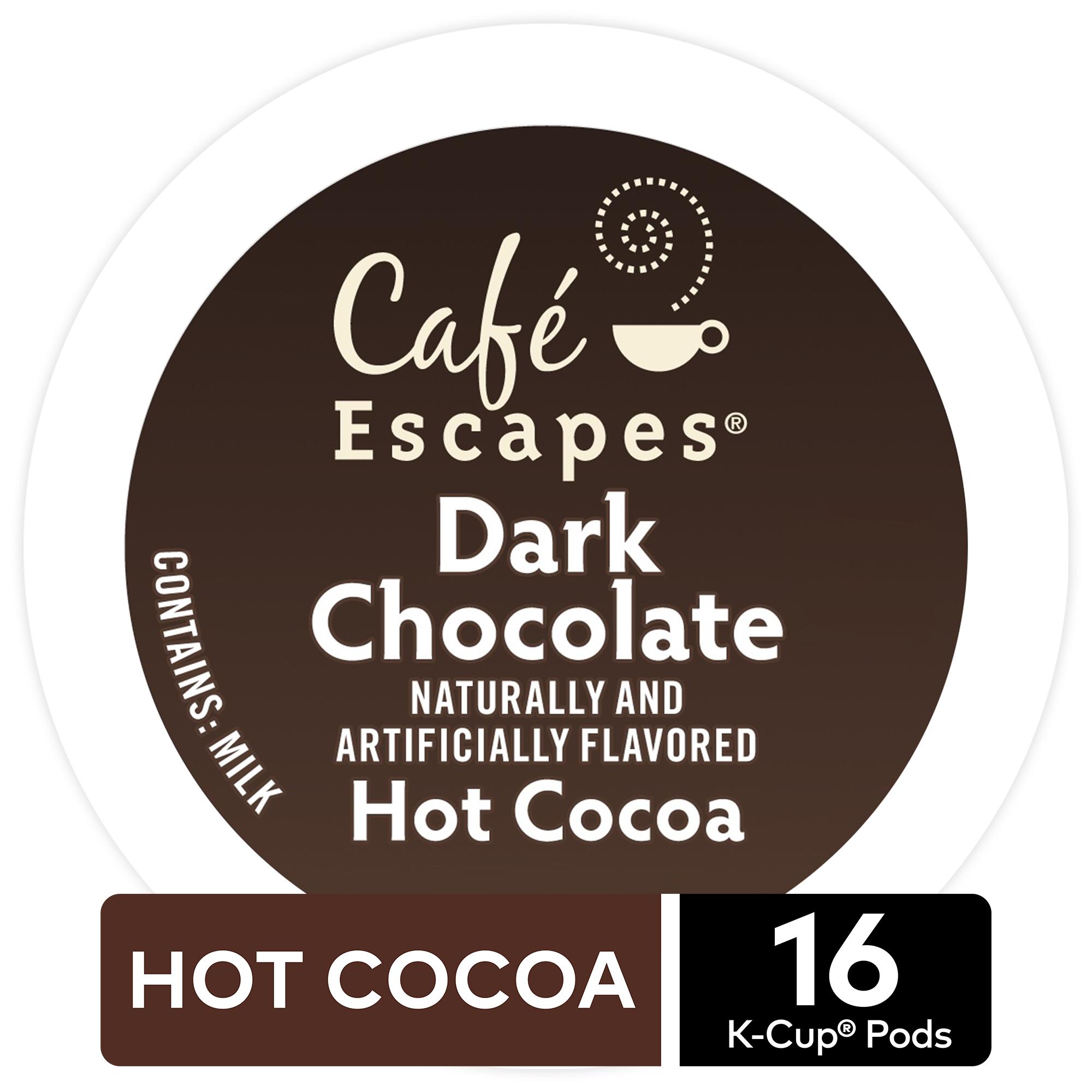 Café Escapes Dark Chocolate Hot Cocoa, Keurig K-Cup Pods, Specialty Beverage, 16 Count