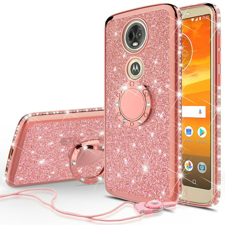 official photos 2fc6f 3ee0d Motorola Moto E5 Plus, Moto E5 Supra Case, Glitter Bling Cute Phone Case  with Ring Stand Sparkly Luxury Clear Thin Soft Protective Bumper Cover for  ...
