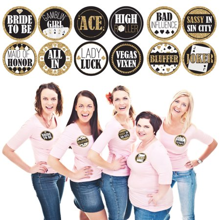 Vegas Before Vows - Las Vegas Bridal Shower Or Bachelorette Party Funny  Name Tags - Party Badges Sticker Set of 12