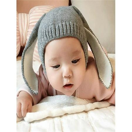 73d81430fff Baby Toddler Kids Boy Girl Knitted Crochet Rabbit Ear Beanie Winter Warm Hat  GY