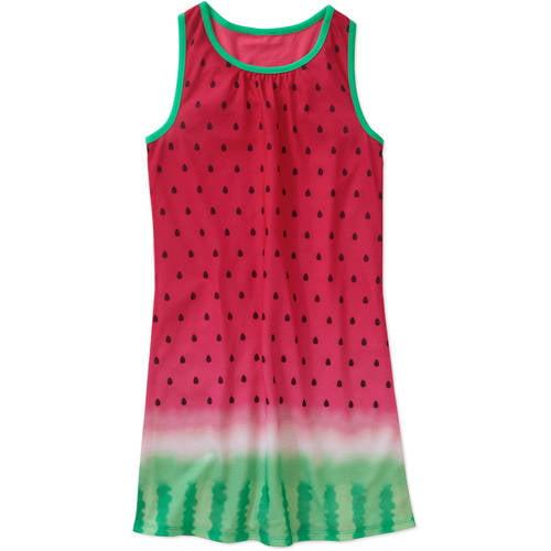 Generic Girls' Graphic Watermelon Tank Pajama Sleep Gown