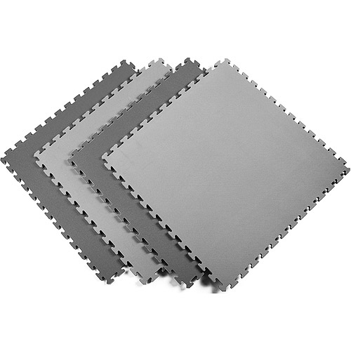 Norsk 240251 Reversible Interlocking Multi-Purpose Foam Floor Mats, 16-Square Feet, Black/Gray, 4-Pack