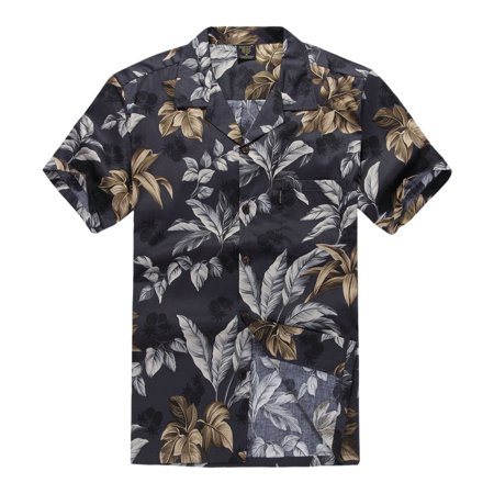 Hawaiian Shirt Aloha Shirt in Black and Gold Leaf](Hawaiian Themed Clothes)