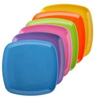 Melange 6-Piece 100% Melamine Square Salad Plate Set (Squares Solid) | Shatter-Proof and Chip-Resistant Melamine Square Salad Plates | Multi-Color