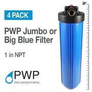 "4 20""x4.5"" Big Blue Water Filter Housing 1"" NPT BrassInsert w/ PR Whole House"