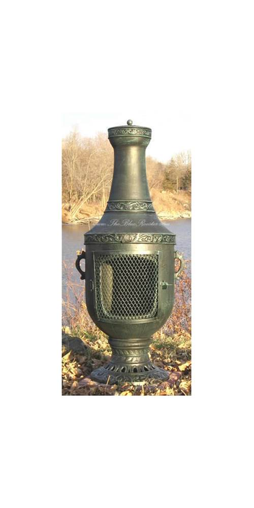 Outdoor Chiminea Fireplace Venetian in Antique Green Finish (Gas Fueled) by The Blue Rooster