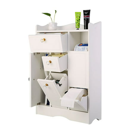 Side Storage Unit (ZEDWELL Bathroom Floor Cabinet, Wooden Side Storage Organizer Cabinet, Freestanding Unit for Better Homes and Gardens Office Furniture, Off White)