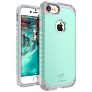 iPhone 8 and iPhone 7 Case, E LV SHOCK ABSORPTION / HIGH IMPACT RESISTANT Full Body Hybrid Armor Protection Defender Case Cover for Apple iPhone 7 and Apple iPhone 8 - [MINT/GREY]