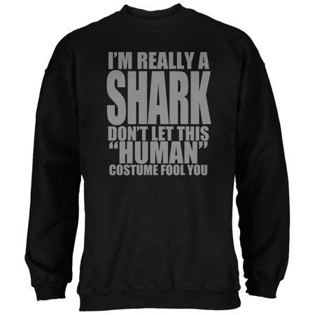 Halloween Human Shark Costume Black Adult Sweatshirt - The Human Centipede Halloween Costume