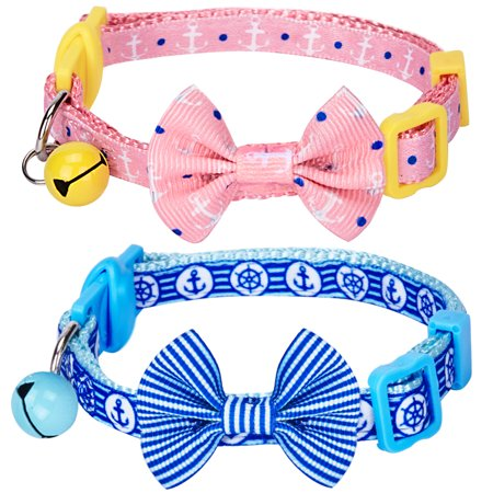 Blueberry Pet Pack of 2 Perfection Mix Match Designer Breakaway Cat Collar for Girl & Boy with Bow Tie & Bell ()