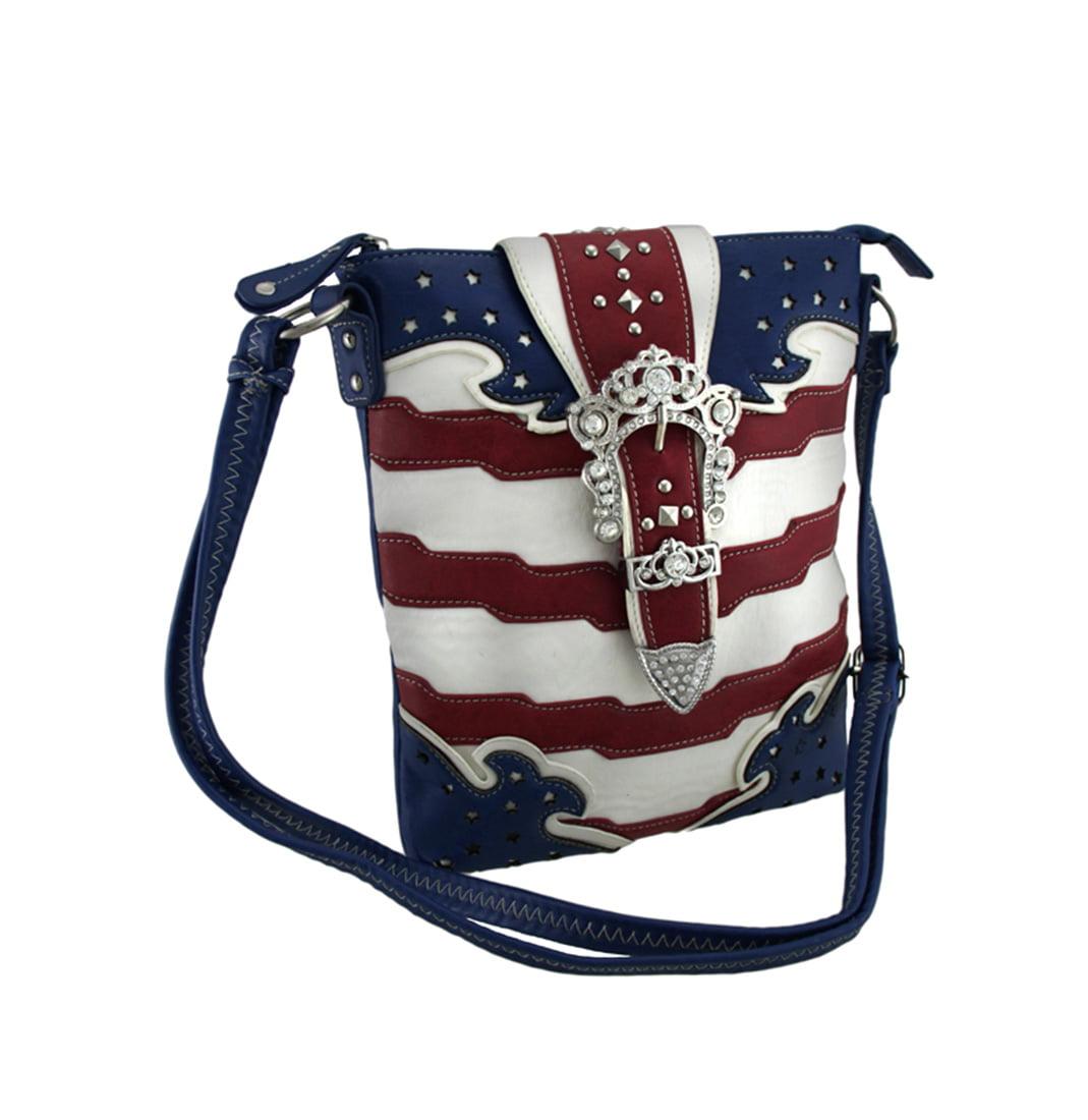 American Flag Rhinestone Buckle Concealed Carry Crossbody...
