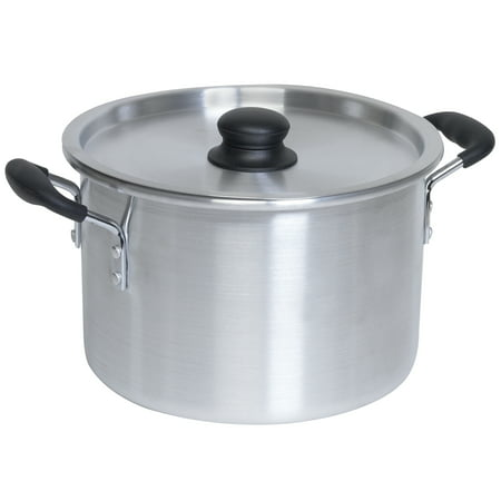 IMUSA USA 12 Quart Aluminum Stock Pot with Soft Touch Handles