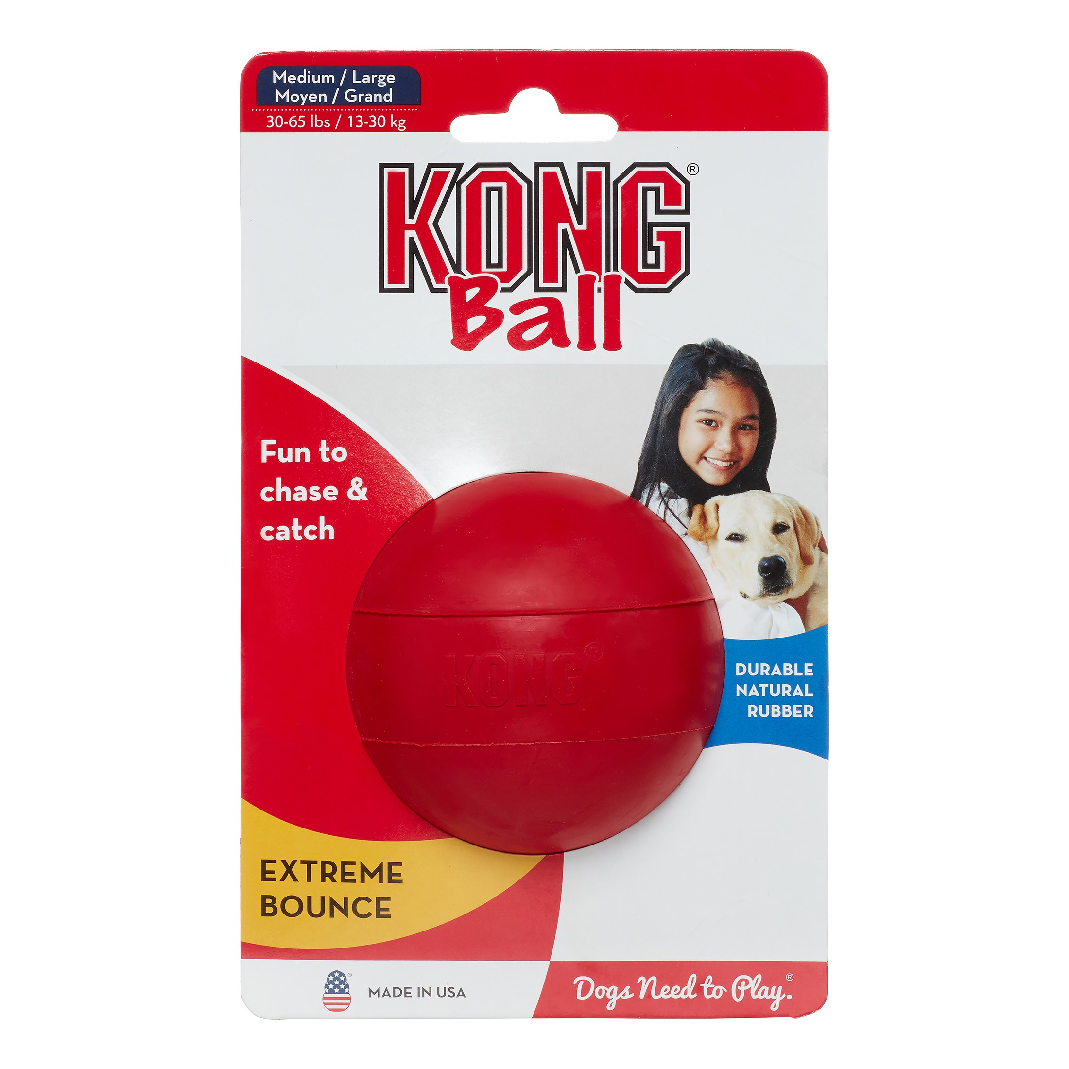 KONG Ball Dog Toy, Red, Medium/Large