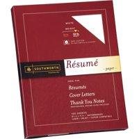 Southworth, SOURD18CF, 100% Cotton Resume Paper, 100 / Box, White
