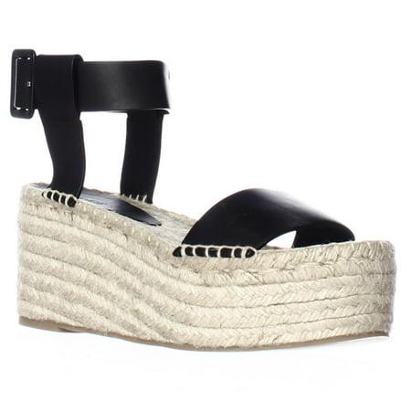 9061dbfb6 VINCE - Womens VINCE Abby Espadrille Wedge Platform Ankle Strap Sandals -  Black - Walmart.com