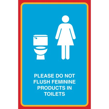 Please do not flush feminine products in toilets print female toilet picture bathroom restroom for Do not flush signs for bathroom