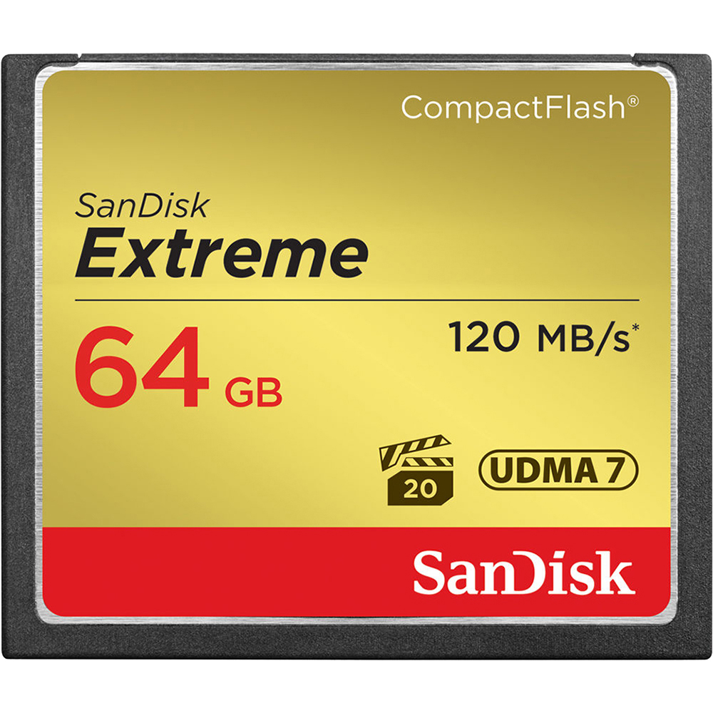 Sandisk Extreme CompactFlash 64GB Memory Card, UDMA 7, Up to 120 MB/s Read Speed