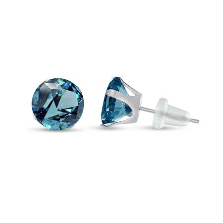 Round 10mm 10k White Gold Simulated Blue Zircon Stud Earrings, December Birthstone, (2 cttw)