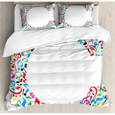 Letter C Duvet Cover Set Musical Notes Keys Major Minor Vibrant Colored Image With