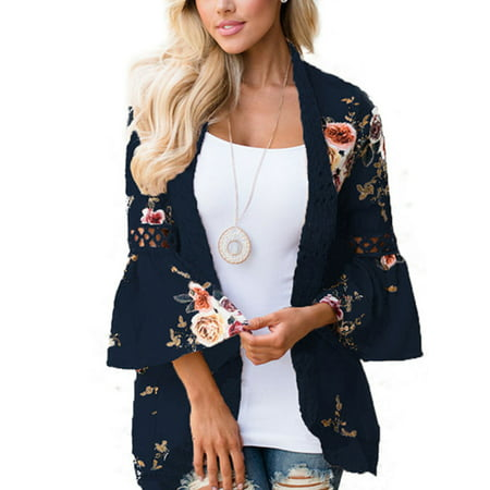 Plus Size Women Boho Long Sleeve Kimono Cardigan Open Front Floral Casual Blouse (Floral Silk Peasant Top)