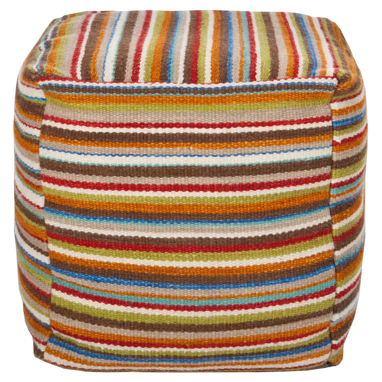 Surya 18 in. Cube Wool and Cotton Pouf Venetian Red by Surya