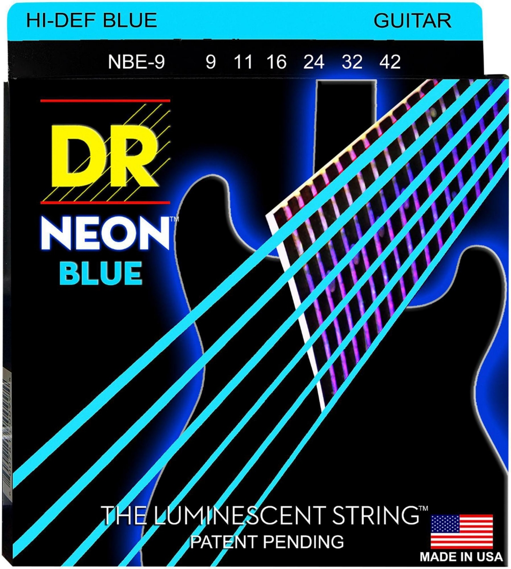 DR Strings Hi-Def NEON Blue Coated Light (9-42) Electric Guitar Strings by DR Strings