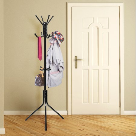 OxGord Coat Hat Metal Rack Organizer Hanger Hook Stand for Purse Handbag Jacket Scarf (5 hook wall coat rack)
