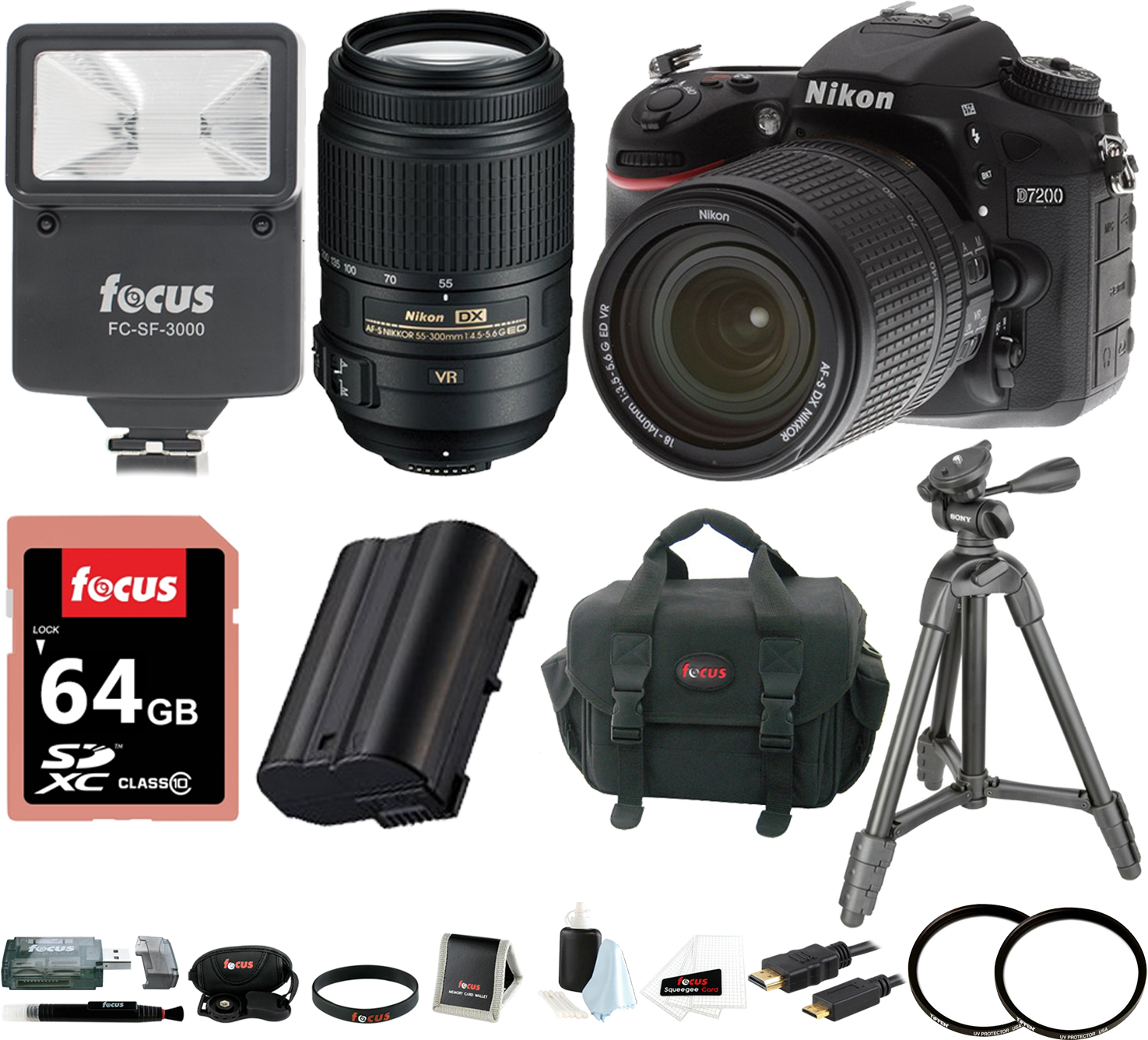 Nikon D7200 DSLR Camera (Black) with 18-140mm+ 55-300MM VR Nikkor Zoom Lenses + 64GB Deluxe Accessory Kit