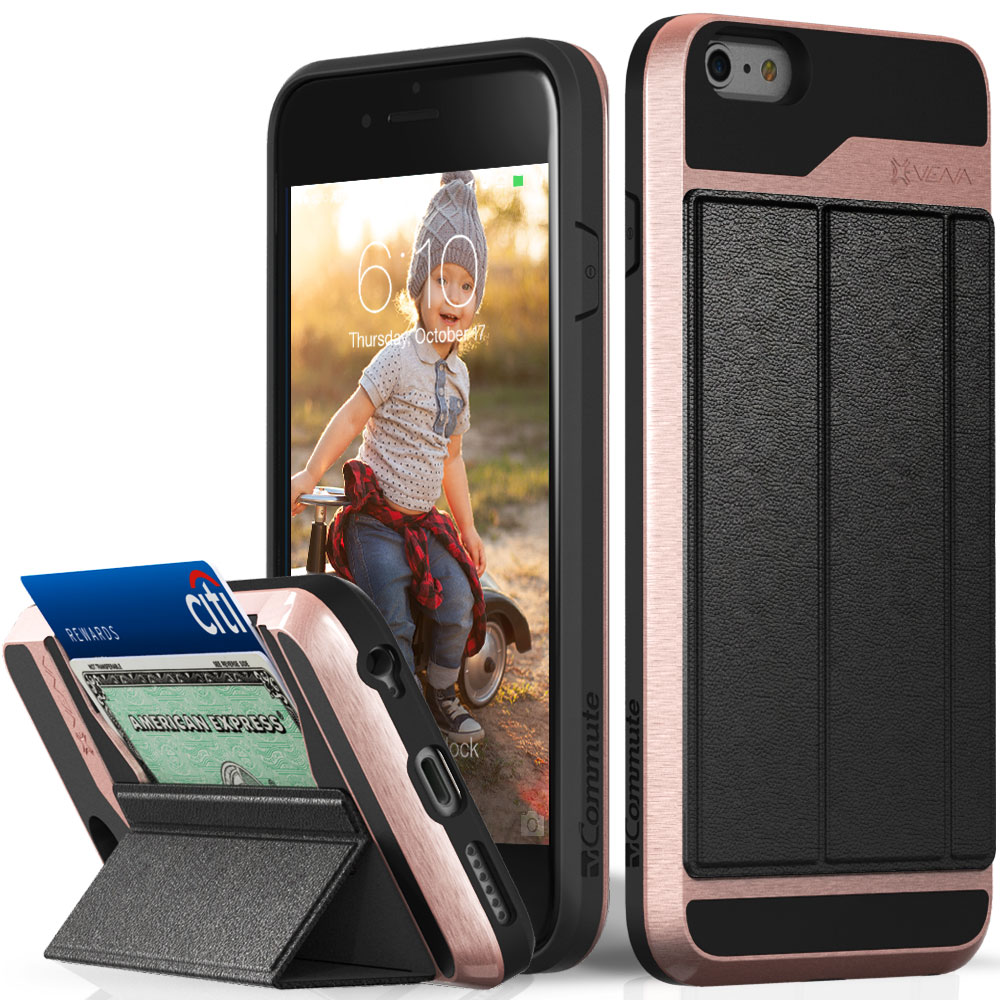 iPhone 6S Plus Wallet Case, Vena [vCommute][Drop Protection] Flip Leather Cover Card Slot Holder with KickStand for Apple iPhone 6 Plus / 6S Plus (Rose Gold / Black)