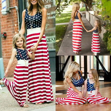 The Noble Collection Fourth of July Mother Daughter Matching Clothes Mom Girls Long Maxi Dress - Girls Long Maxi Dress