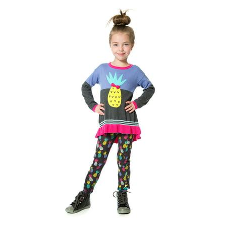 Deux par Deux Girls' Knit Leggings Ananas d'Hiver, Sizes 4-10 - 5 - image 2 de 2
