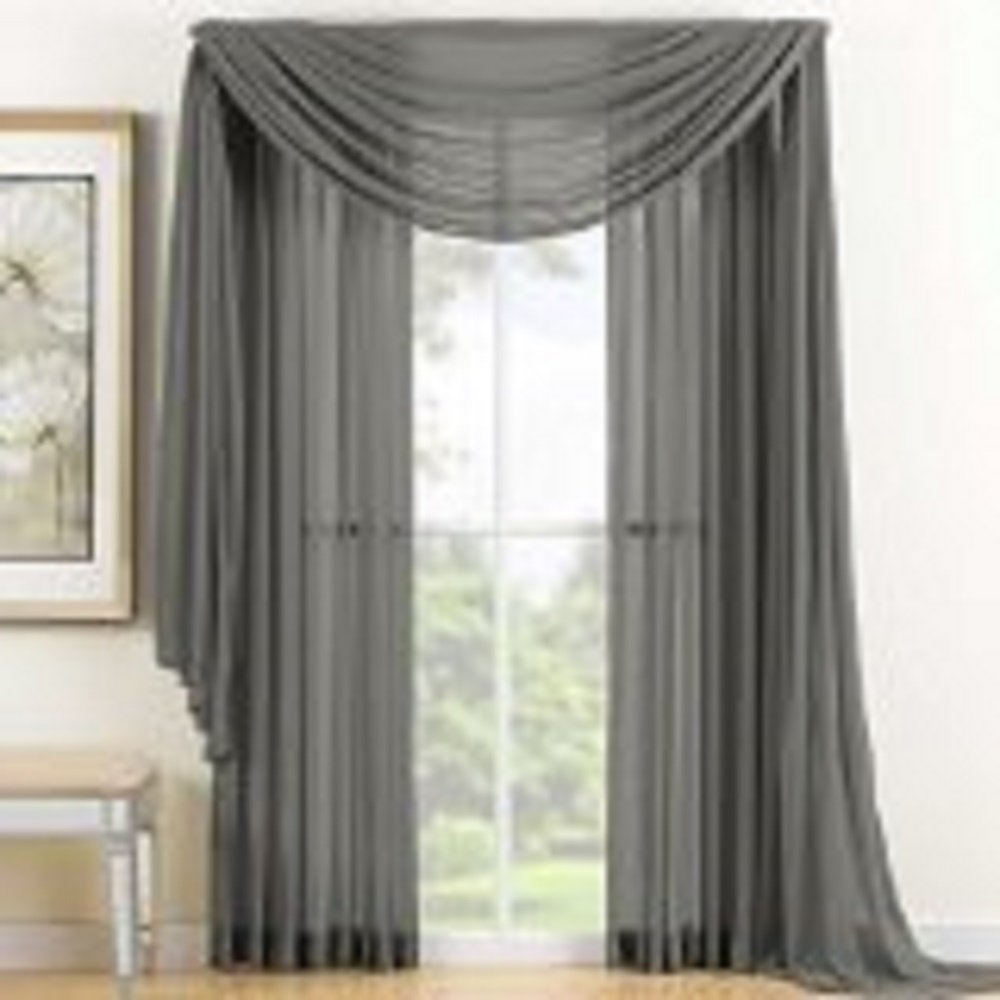 1 Pc Elegant Gray Sheer Scarf Voile Window Treatment Panel Valance Curtain 37 By 216, By REDBIRDLINEN by