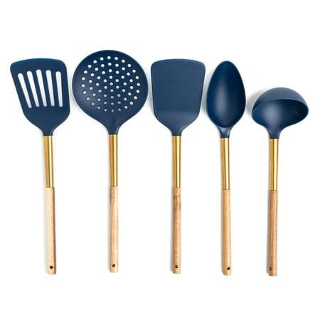Better Homes & Gardens 5 Piece Nylon Navy and Gold Kitchen Utensil