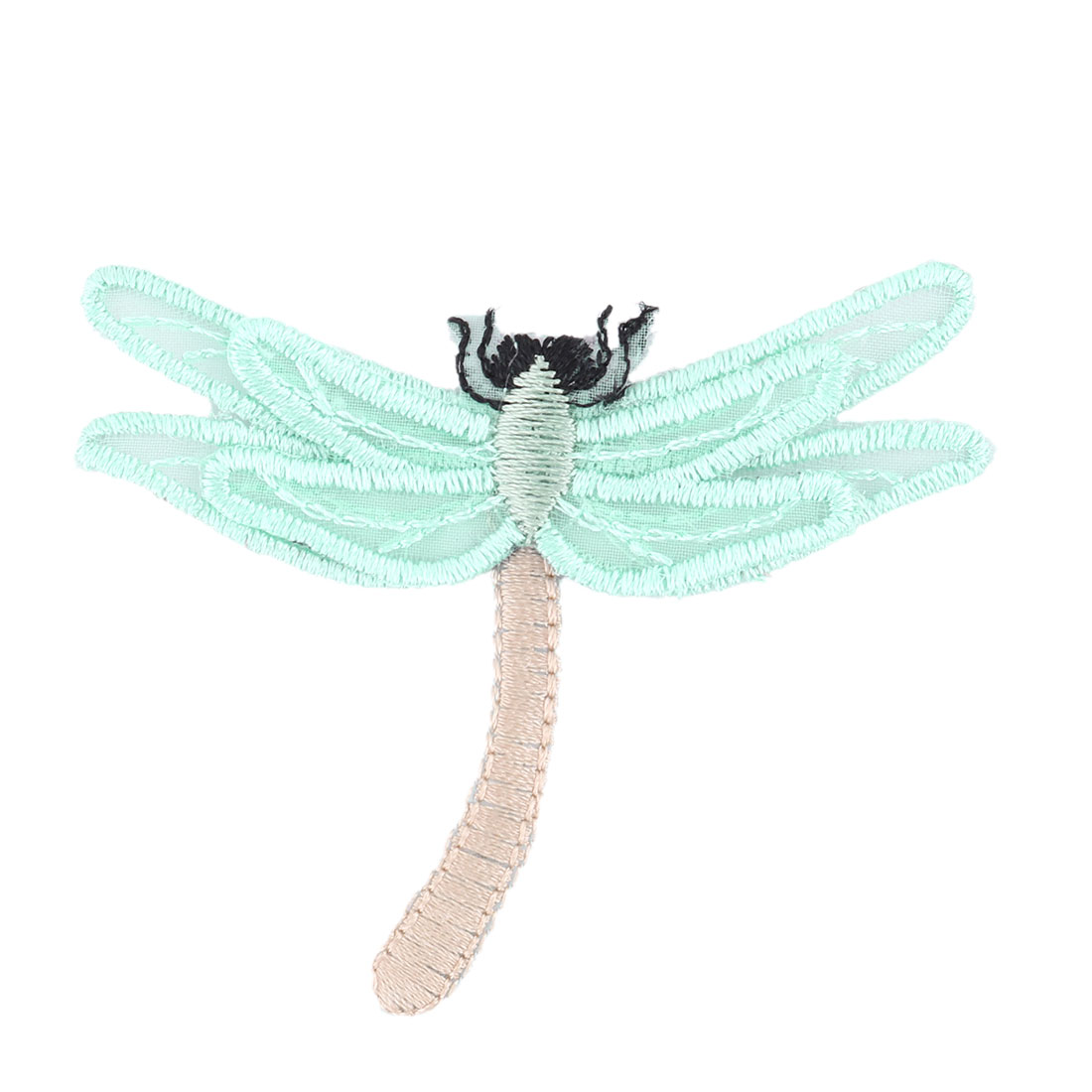 Unique Bargains Home Organza Dragonfly Design Embroidered DIY Clothes Decor Lace Applique Green