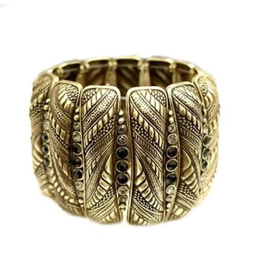 C Jewelry Antique Design With Jet And Black Die Rhinestone Gold Stretch Bracelet