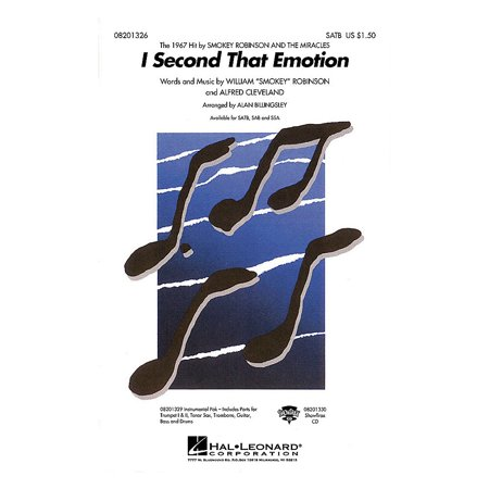 Hal Leonard I Second That Emotion SAB by The Miracles Arranged by Alan Billingsley