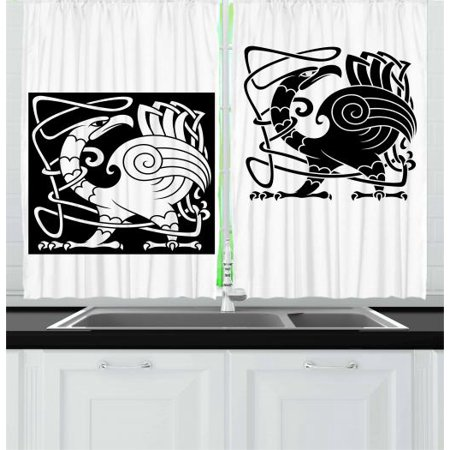 Celtic Curtains 2 Panels Set, Bird Silhouettes Fantastic Animals with Tracery Inspired Ornamental Pattern, Window Drapes for Living Room Bedroom, 55W X 39L Inches, Black and White, by Ambesonne ()