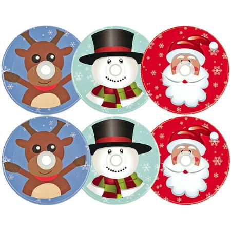 Mason Jar Lids Christmas With Hole, Set of 6