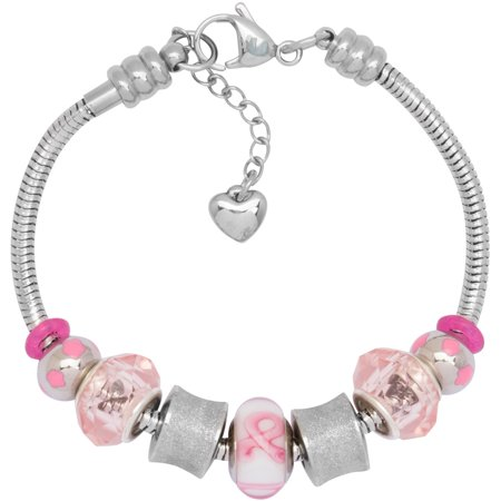Charm Bracelet With Charms For Women, Stainless Steel, Fits Pandora Jewelry, Pink Awareness Ribbon, Glass Ribbon