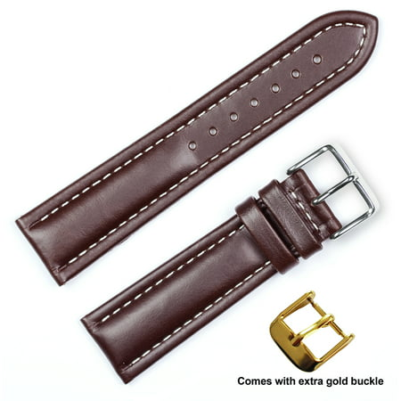 deBeer brand Breitling Style Oil Tanned Leather Watch Band (Silver & Gold Buckle) - Brown 18mm